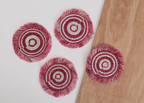 Mauve Fig Fringed Coasters