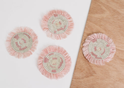 Pale Blush Fringed Coasters