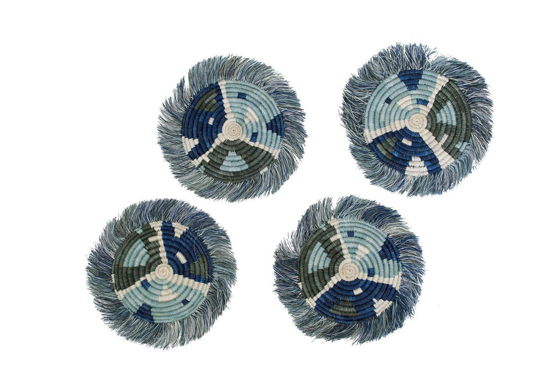 Silver Blue Matisse Fringed Coasters, Set of 4 - KAZI - Artisan made high quality home decor and wall art