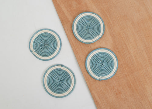 Silver Blue Sisal Coasters