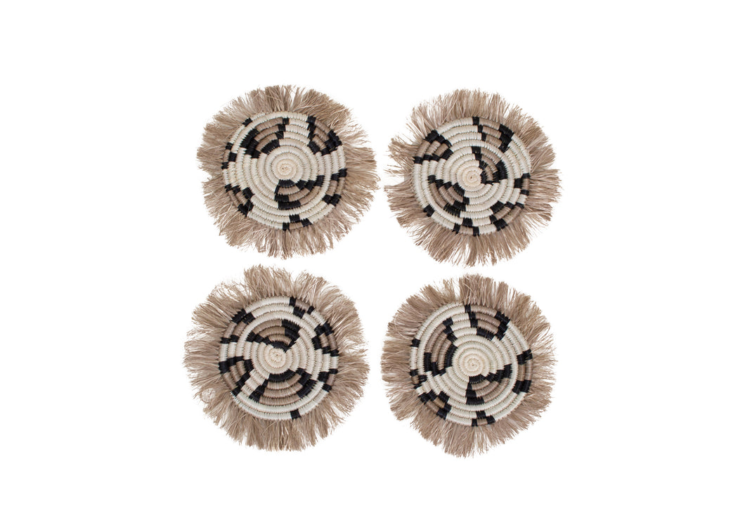 Animal Print Fringed Coasters, Set of 4 - KAZI - Artisan made high quality home decor and wall art
