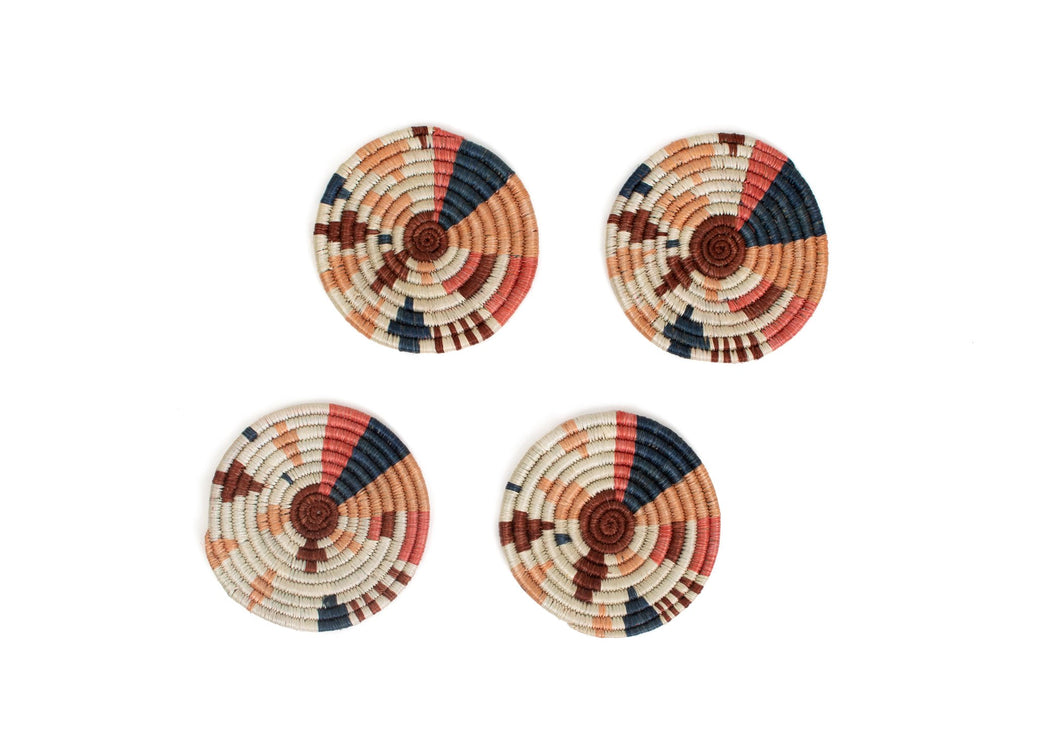 Coral Biko Coasters, Set of 4 - KAZI - Artisan made high quality home decor and wall art