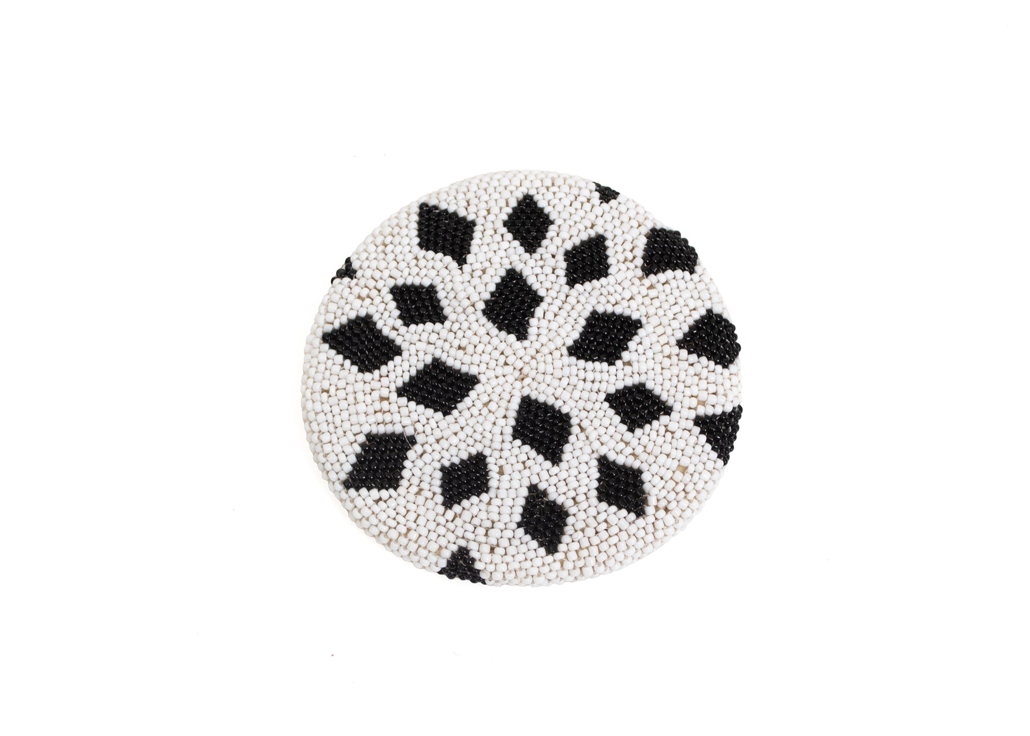 Black Beaded Atelier Coaster 02, Set of 4 - KAZI - Artisan made high quality home decor and wall art