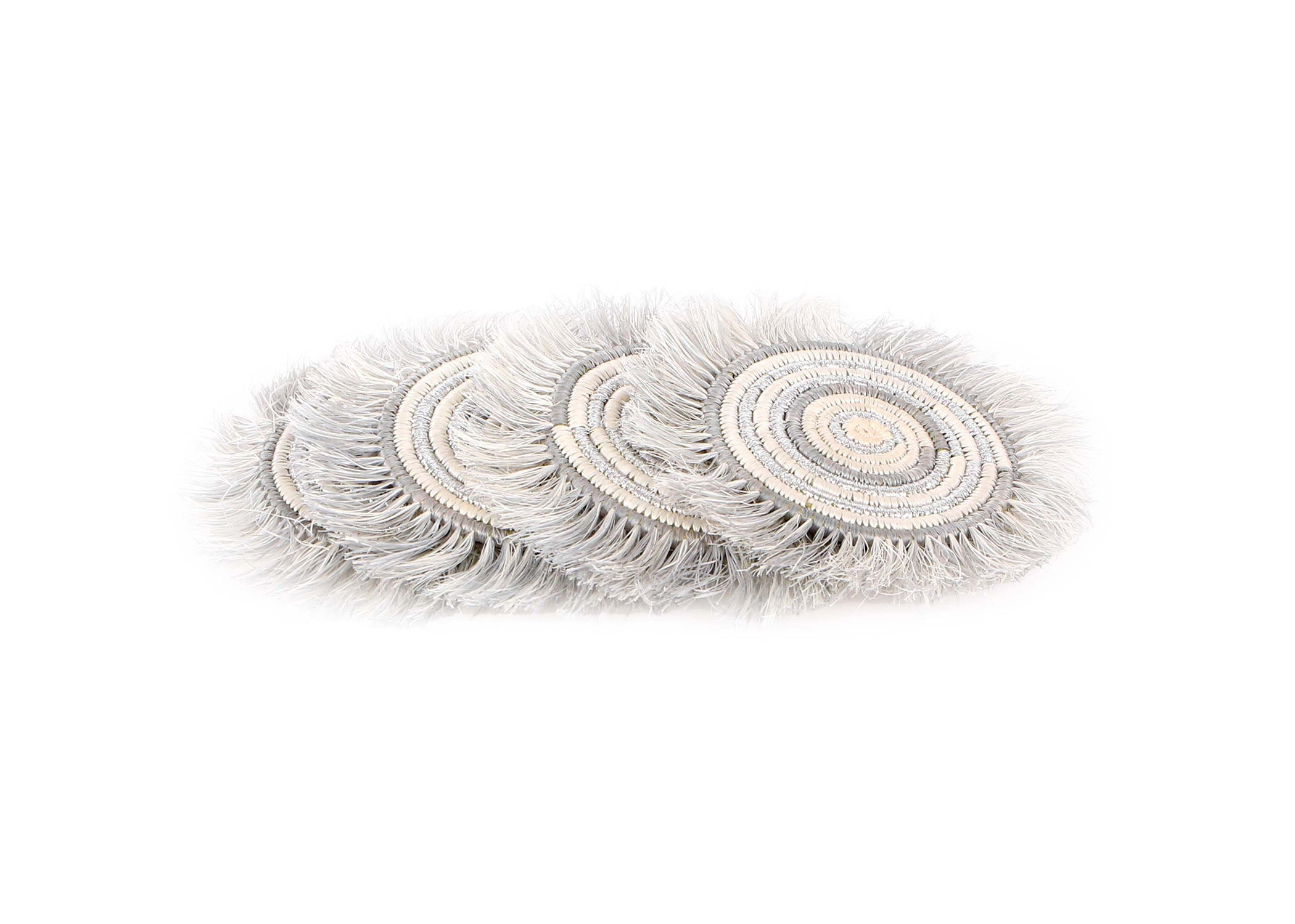 Silver Metallic Geo Fringed Coasters, Set of 4 - KAZI - Artisan made high quality home decor and wall art