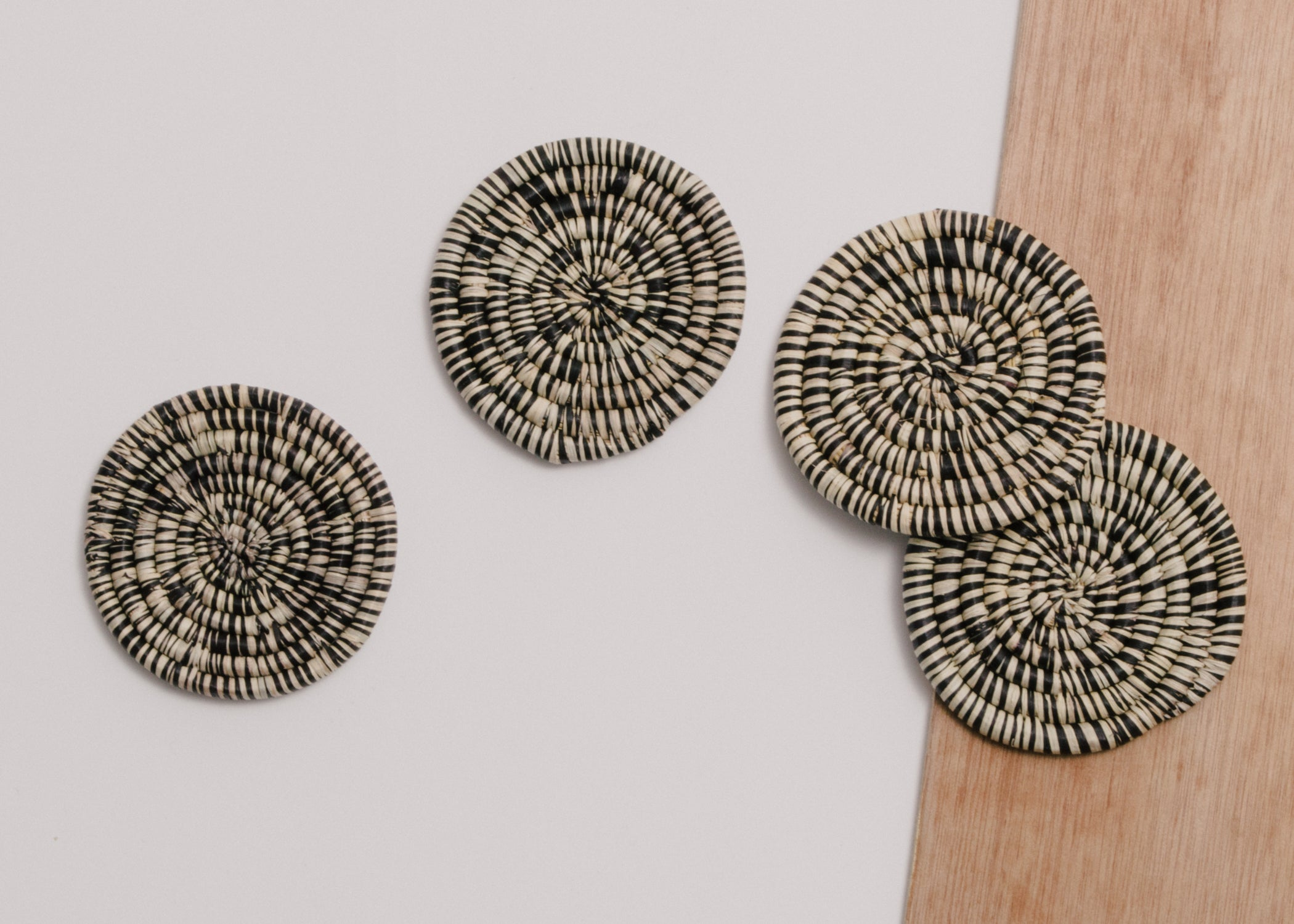 Heathered Black + Natural Raffia Drink Coasters, Set of 4 - KAZI - Artisan made high quality home decor and wall art