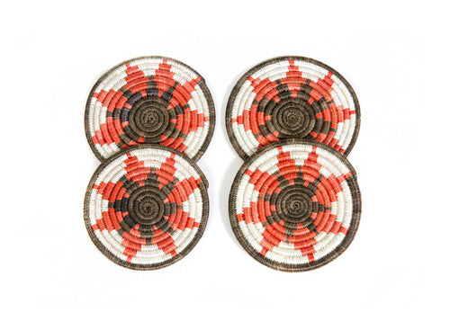 Orange Ochre Hope Coasters, Set of 4