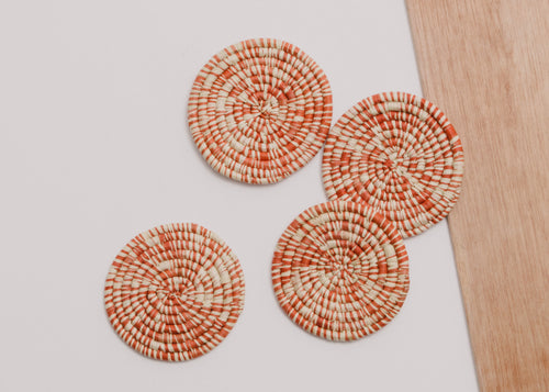 Heathered Burnt Orange Raffia Coasters - Set of 4