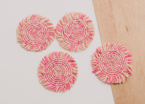 Fringed Fandango Pink Raffia Coasters - Set of 4