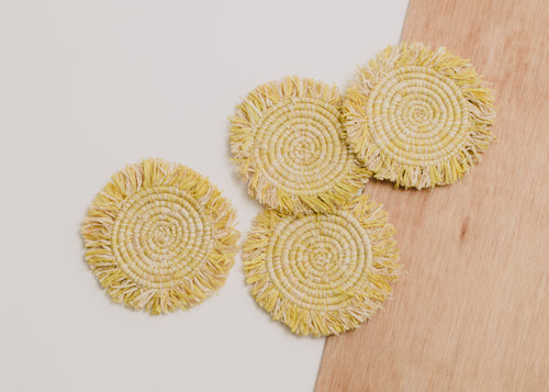 Fringed Sun Raffia Coasters - Set of 4