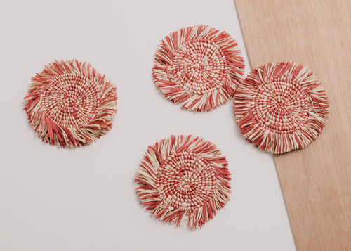 Fringed Burnt Orange Raffia Coasters - Set of 4