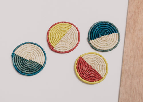 Color Blocked Raffia Coasters - Set of 4