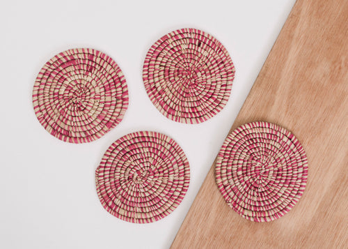 Heathered Rosette Coasters - Set of 4