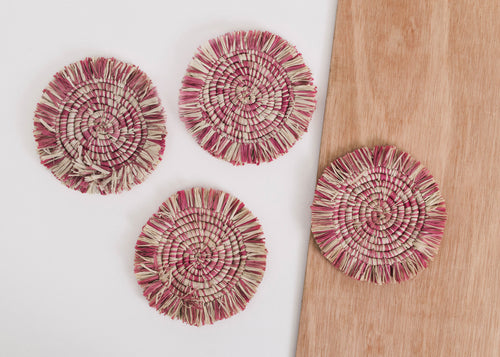 Fringed Rosette Coasters - Set of 4