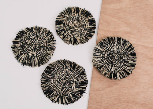 Fringed Black Coasters - Set of 4