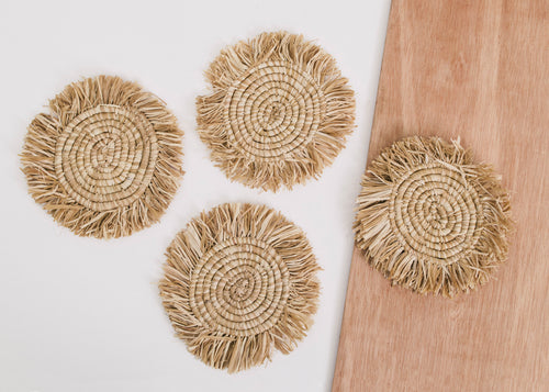 Fringed Soft Gold Coasters - Set of 4