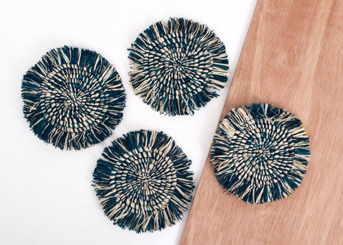 Fringed Blue Night Coasters - Set of 4