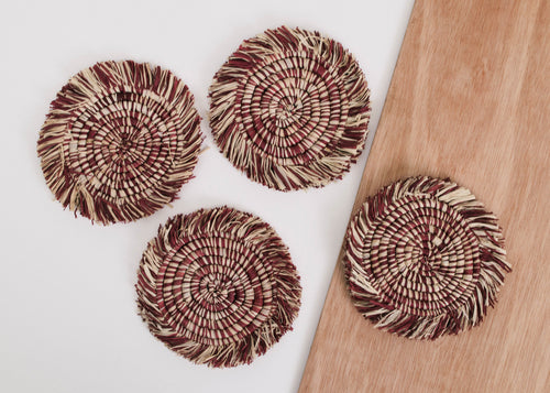 Fringed Berry Coasters - Set of 4
