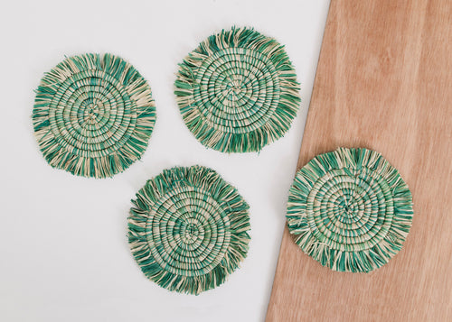 Fringed Paradise Blue Coasters - Set of 4