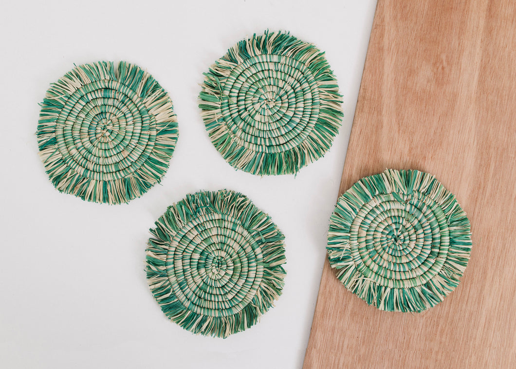 Fringed Paradise Blue Coasters - Set of 4 - KAZI - Artisan made high quality home decor and wall art