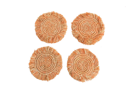 Peach Fringed Heathered Coasters