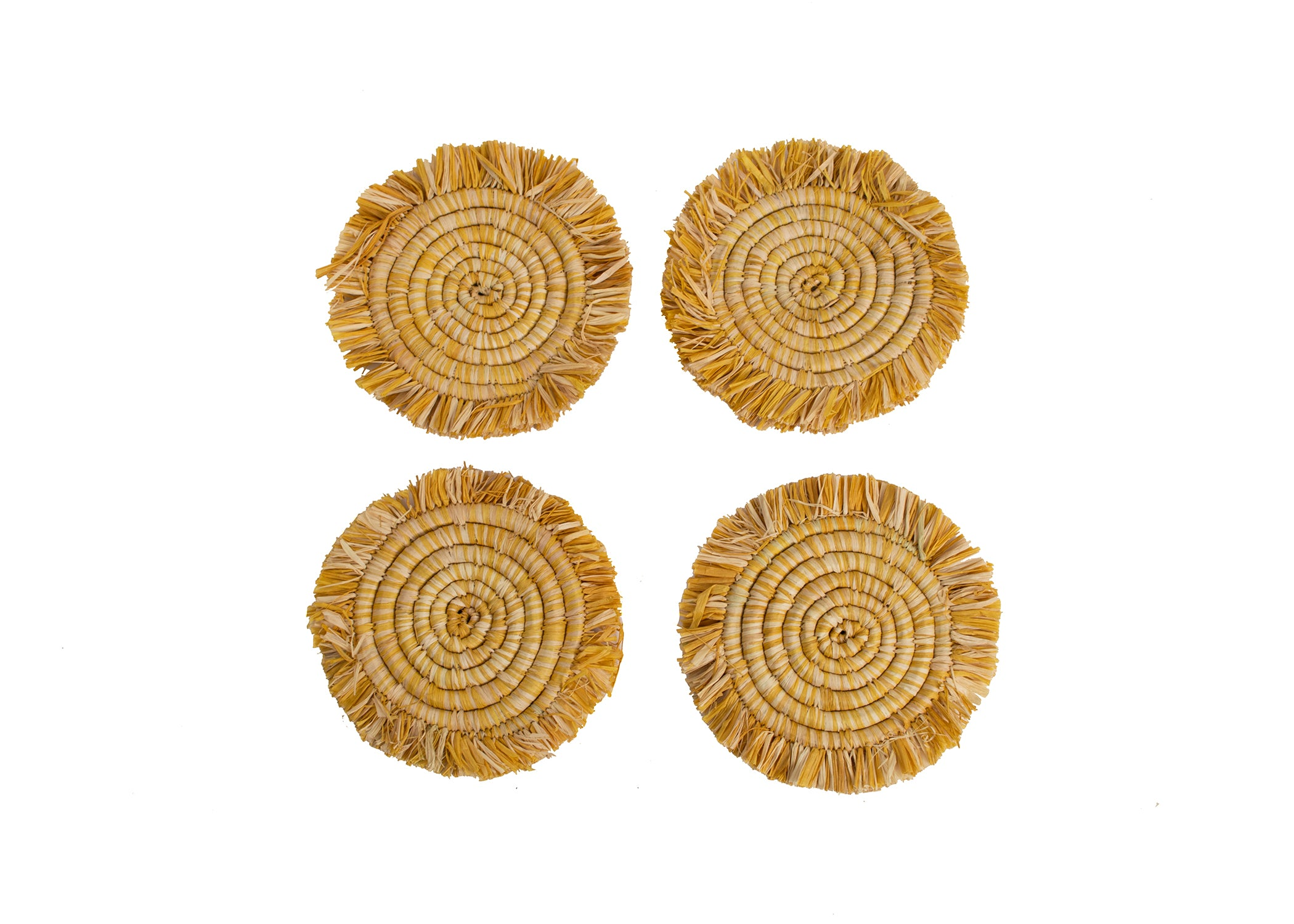 Mustard Fringed Heathered Coasters - KAZI - Artisan made high quality home decor and wall art
