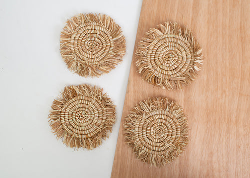 Camel Fringed Heathered Coasters