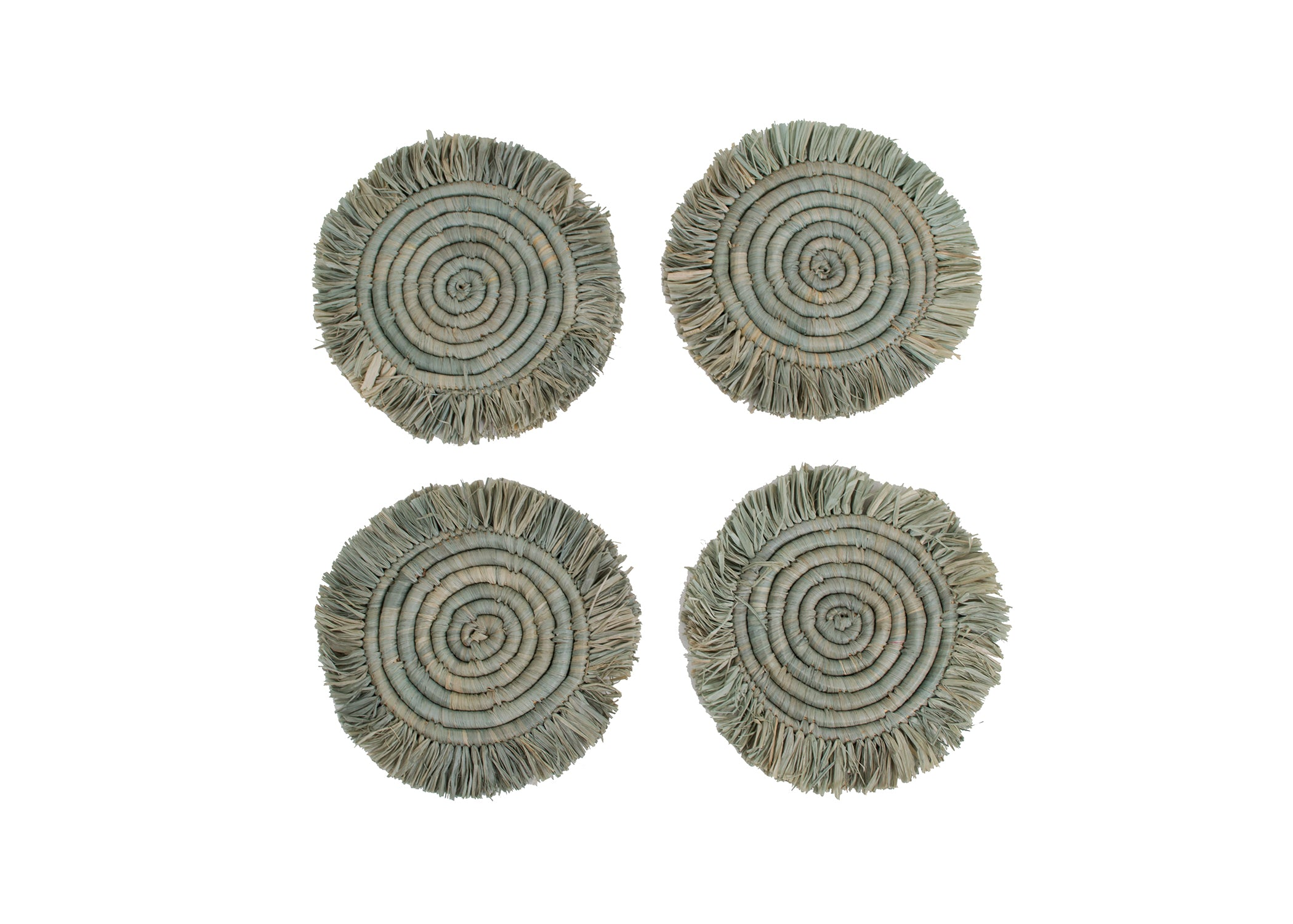 Opal Gray Fringed Raffia Drink Coasters, Set of 4 - KAZI - Artisan made high quality home decor and wall art