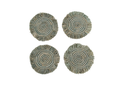 Opal Gray Fringed Raffia Coasters