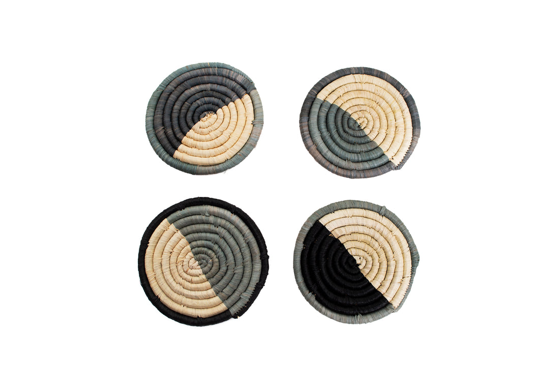 Opal Gray Dipped Drink Coasters, Set of 4 - KAZI - Artisan made high quality home decor and wall art