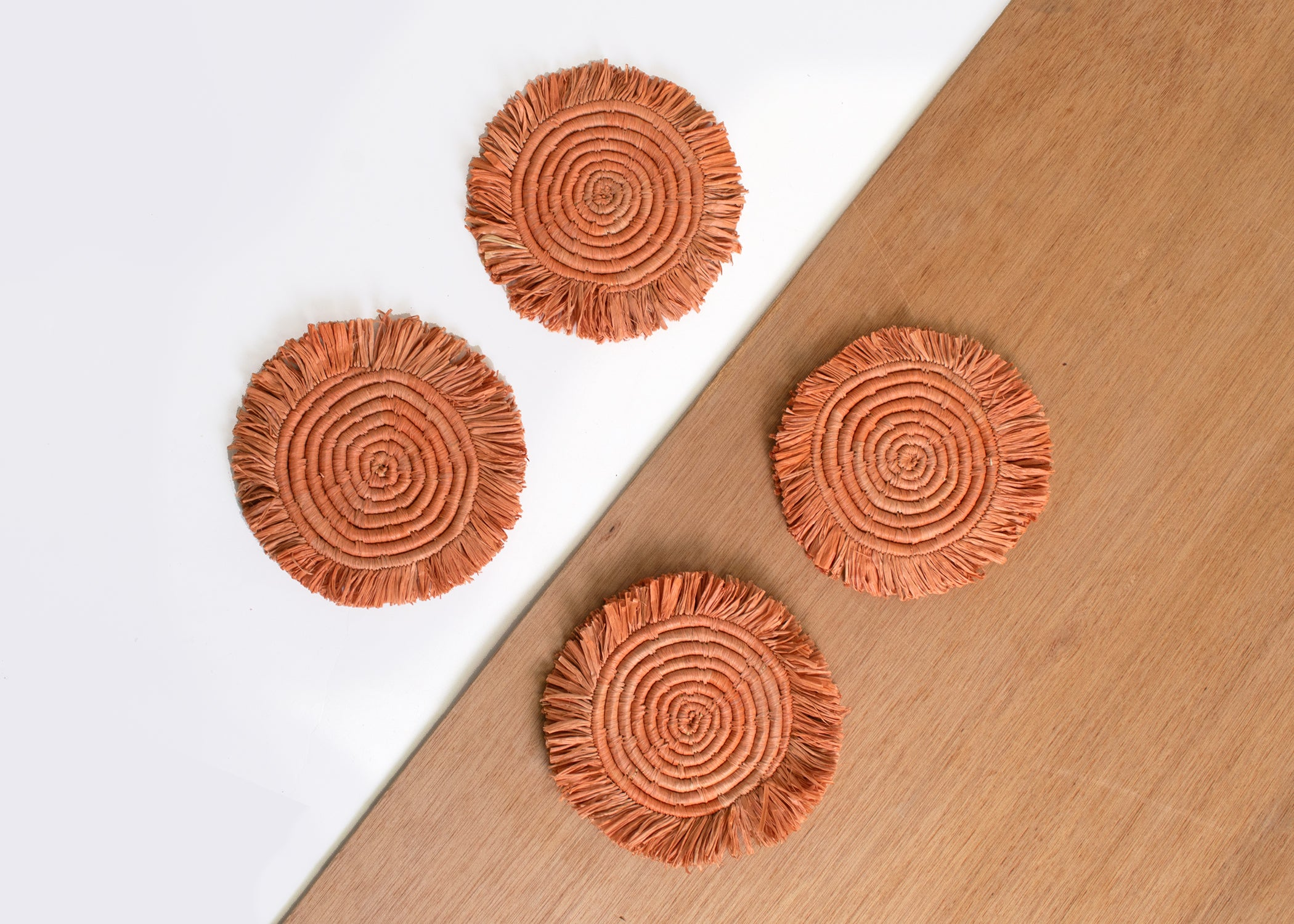 Peach Fringed Raffia Drink Coasters, Set of 4 - KAZI - Artisan made high quality home decor and wall art