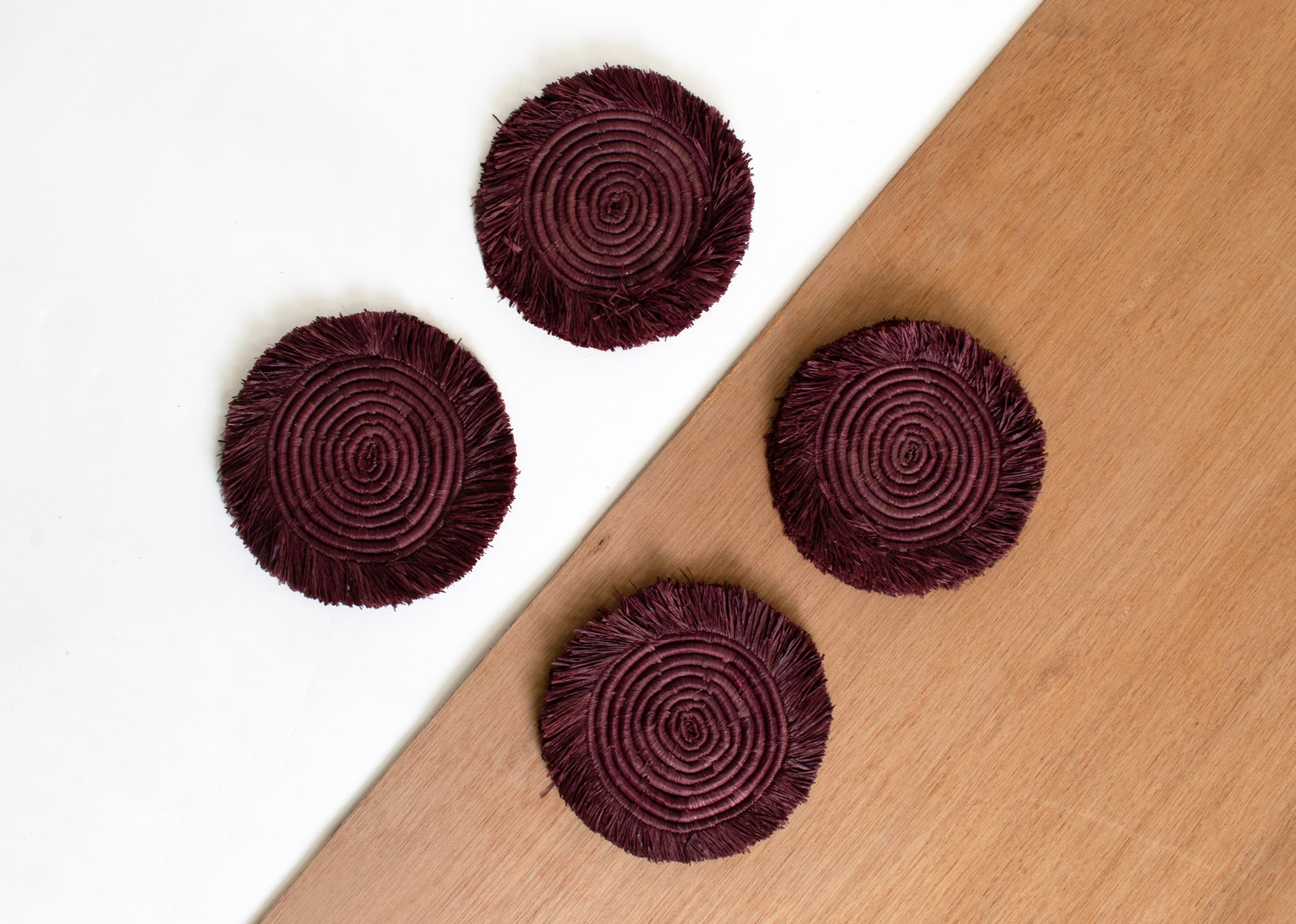 Burgundy Fringed Raffia Drink Coasters, Set of 4 - KAZI - Artisan made high quality home decor and wall art