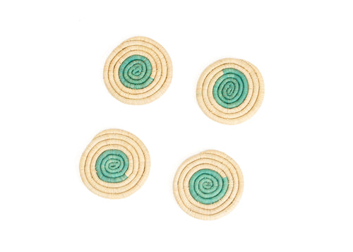 Bermuda On the Dot Raffia Coasters