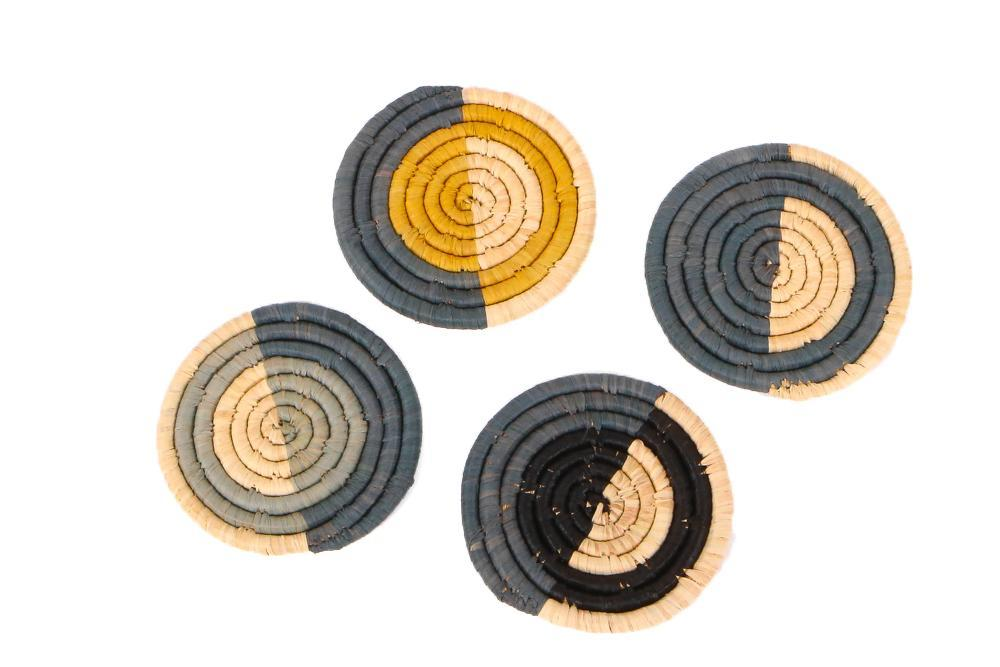 Opal Gray + Mustard Raffia Coasters, Set of 4 - KAZI - Artisan made high quality home decor and wall art