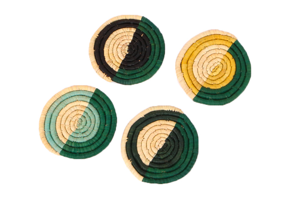 Forest Bud + Mustard Raffia Coasters, Set of 4 - KAZI - Artisan made high quality home decor and wall art