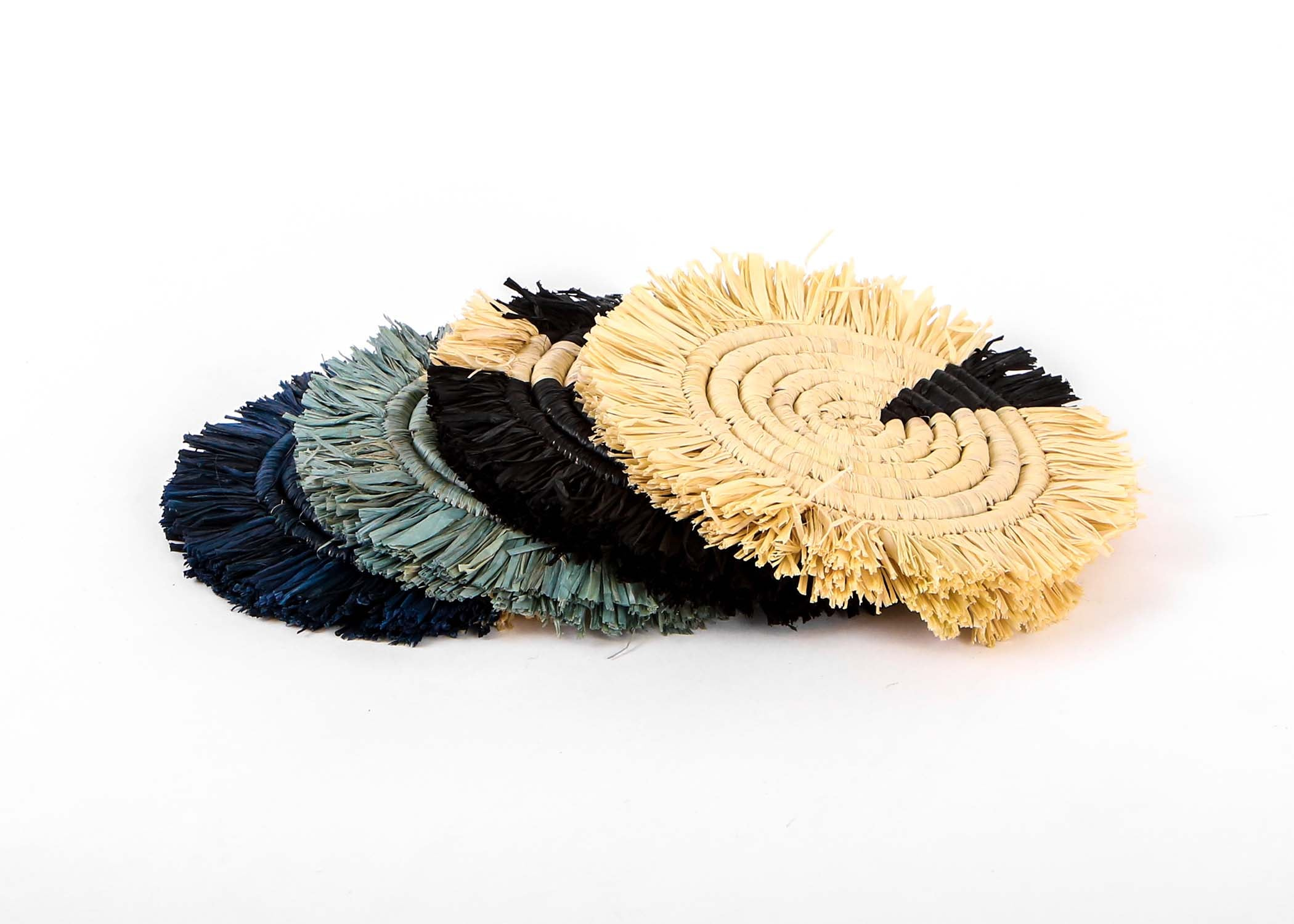Dash of Blues Fringed Raffia Coasters, Set of 4 - KAZI