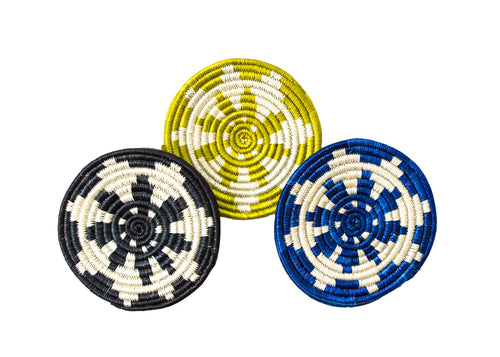 Black, Lime + Blue Coaster Set of 6