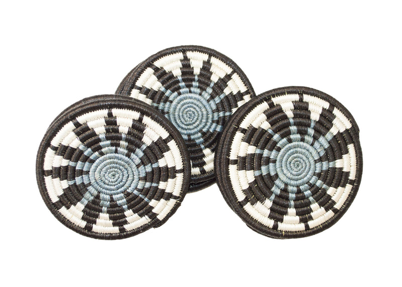 Soft Blue + Black Hope Coaster Set of 6