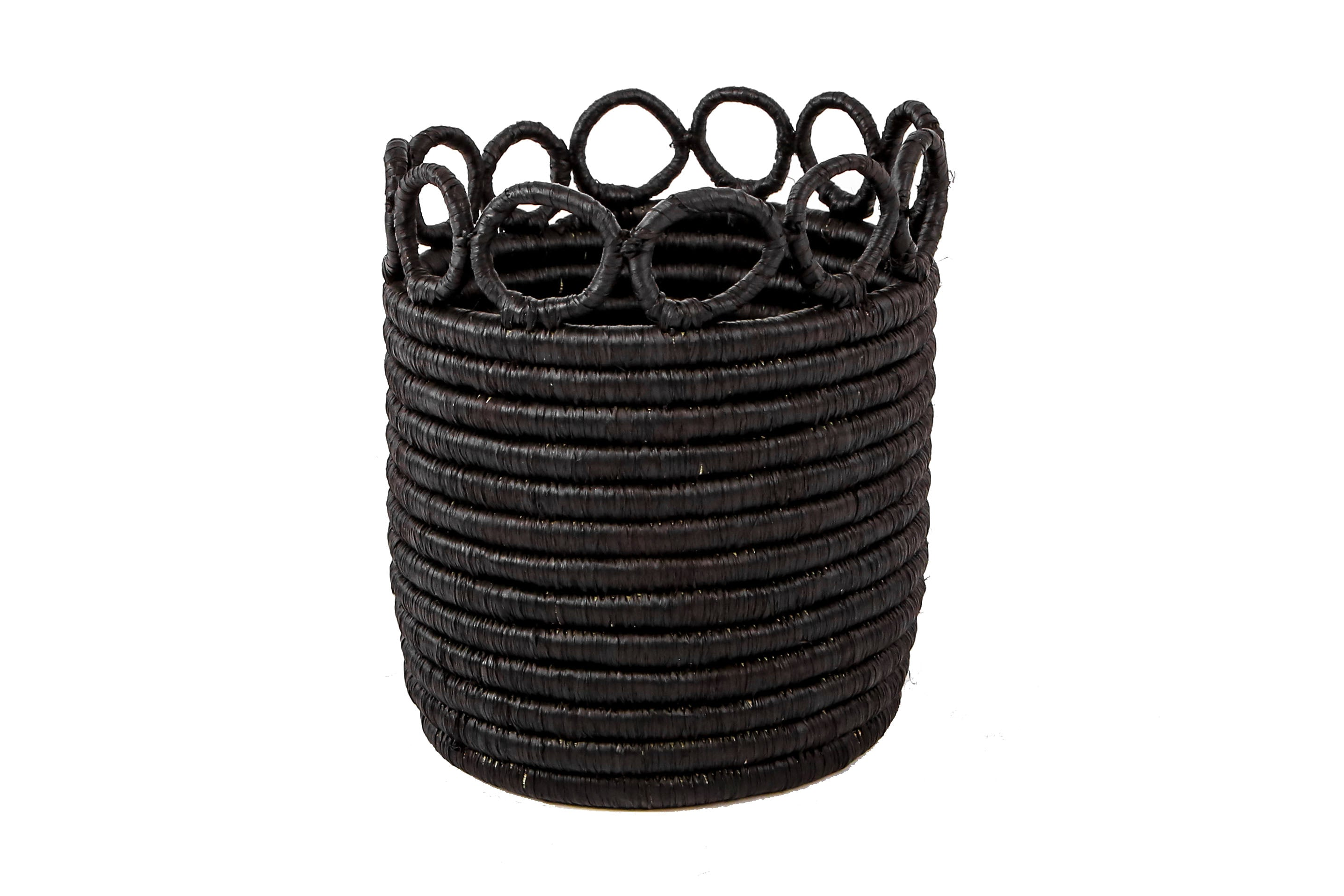 "5"" Small Black Hooped Planter - KAZI - Artisan made high quality home decor and wall art"