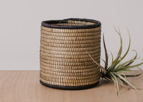 Medium Open Weave Black Storage Basket