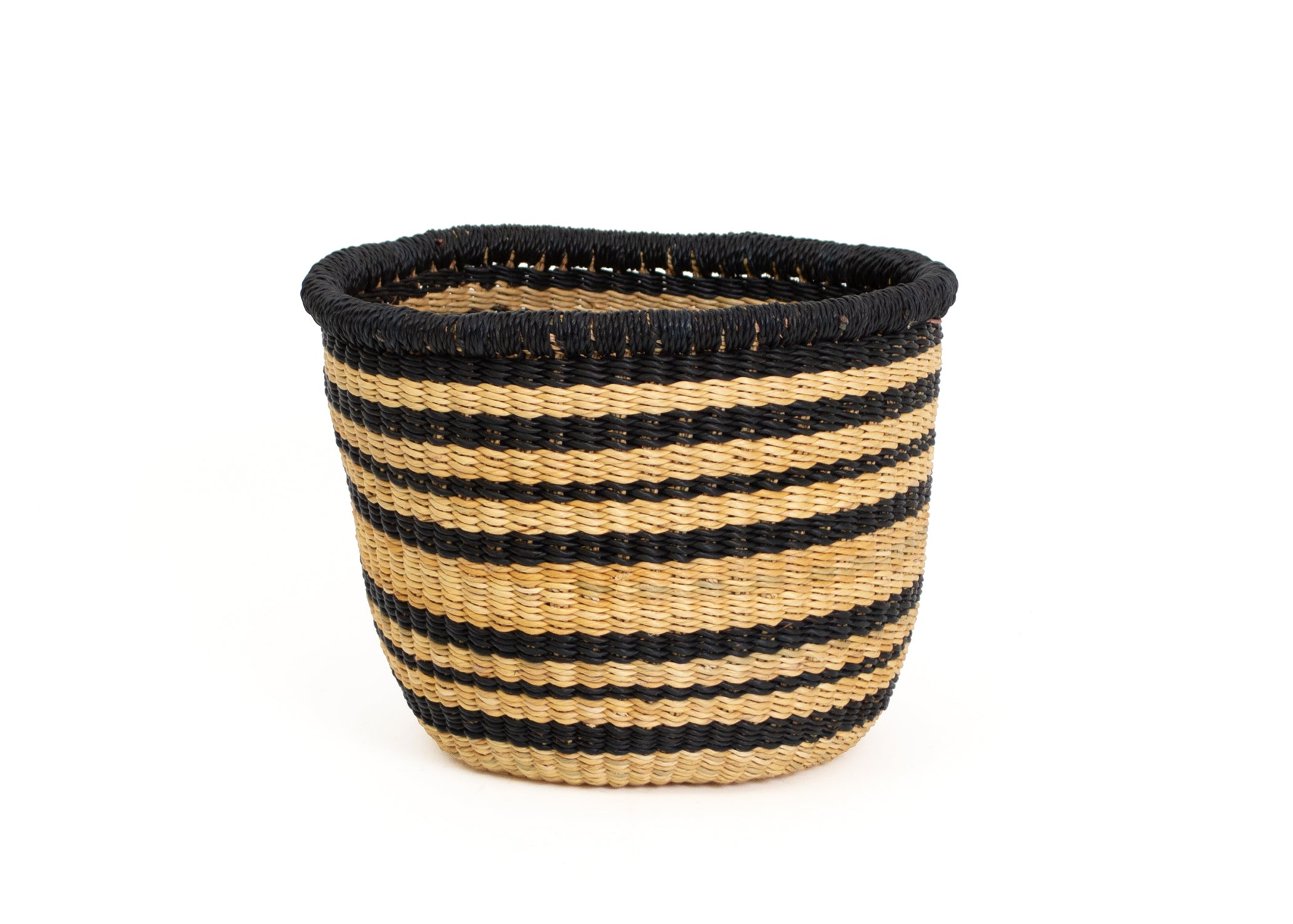 "5"" Small Striped Black Grass Planter - KAZI - Artisan made high quality home decor and wall art"