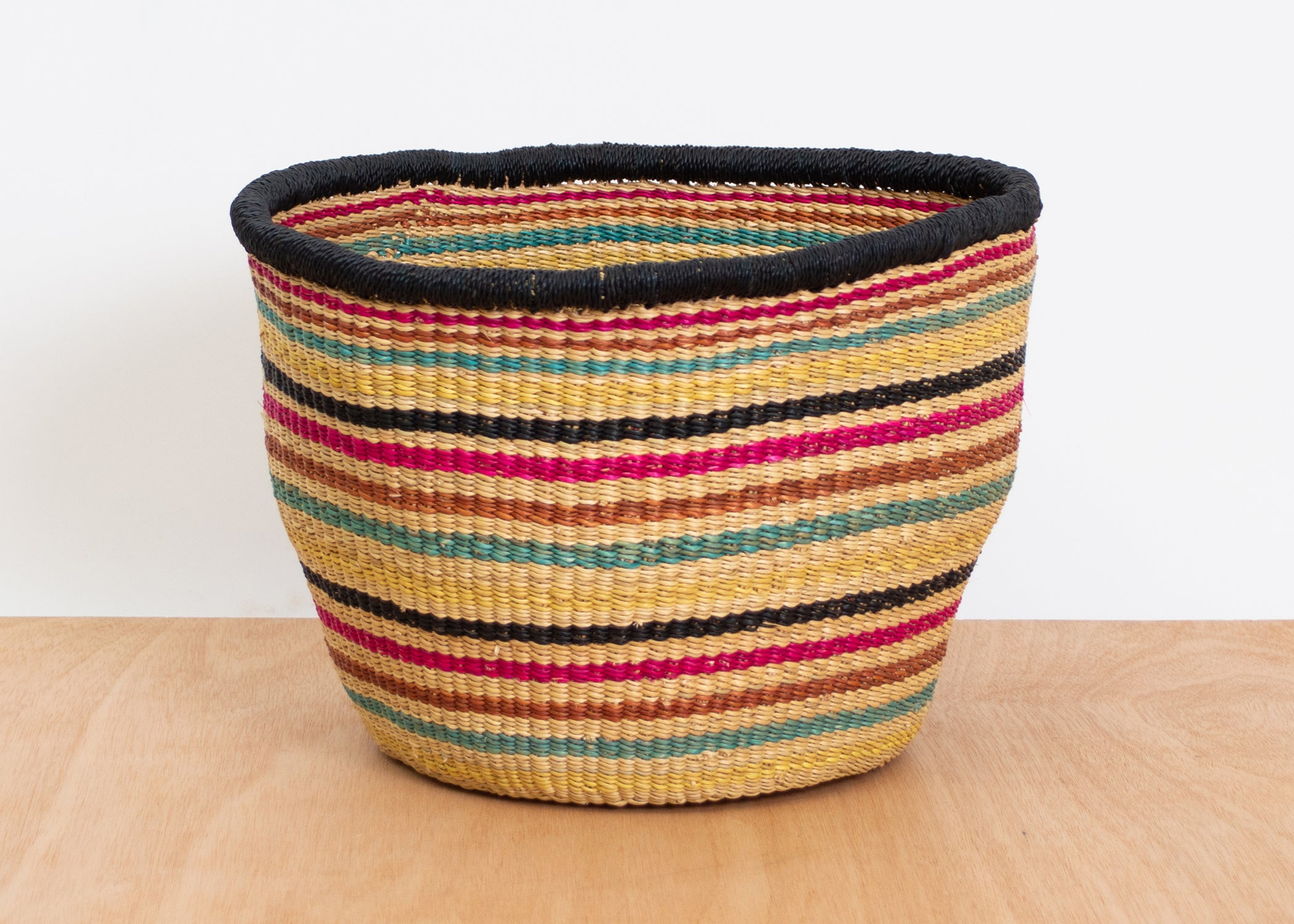 "8"" Large Striped Fete Grass Planter - KAZI - Artisan made high quality home decor and wall art"