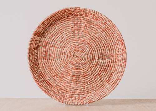 Heathered Burnt Orange Round Raffia Tray