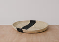 Striped Black + Natural Raffia Tray III