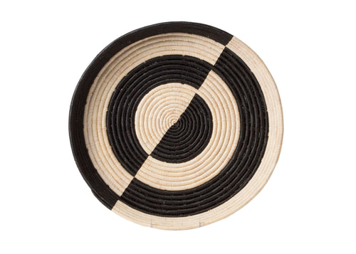 Mwezi Black + Natural Raffia Tray