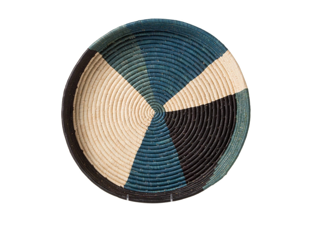 Cool Color Blocked Raffia Tray - KAZI