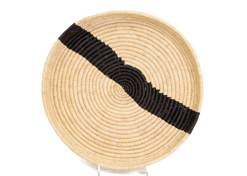 Striped Black + Natural Raffia Tray