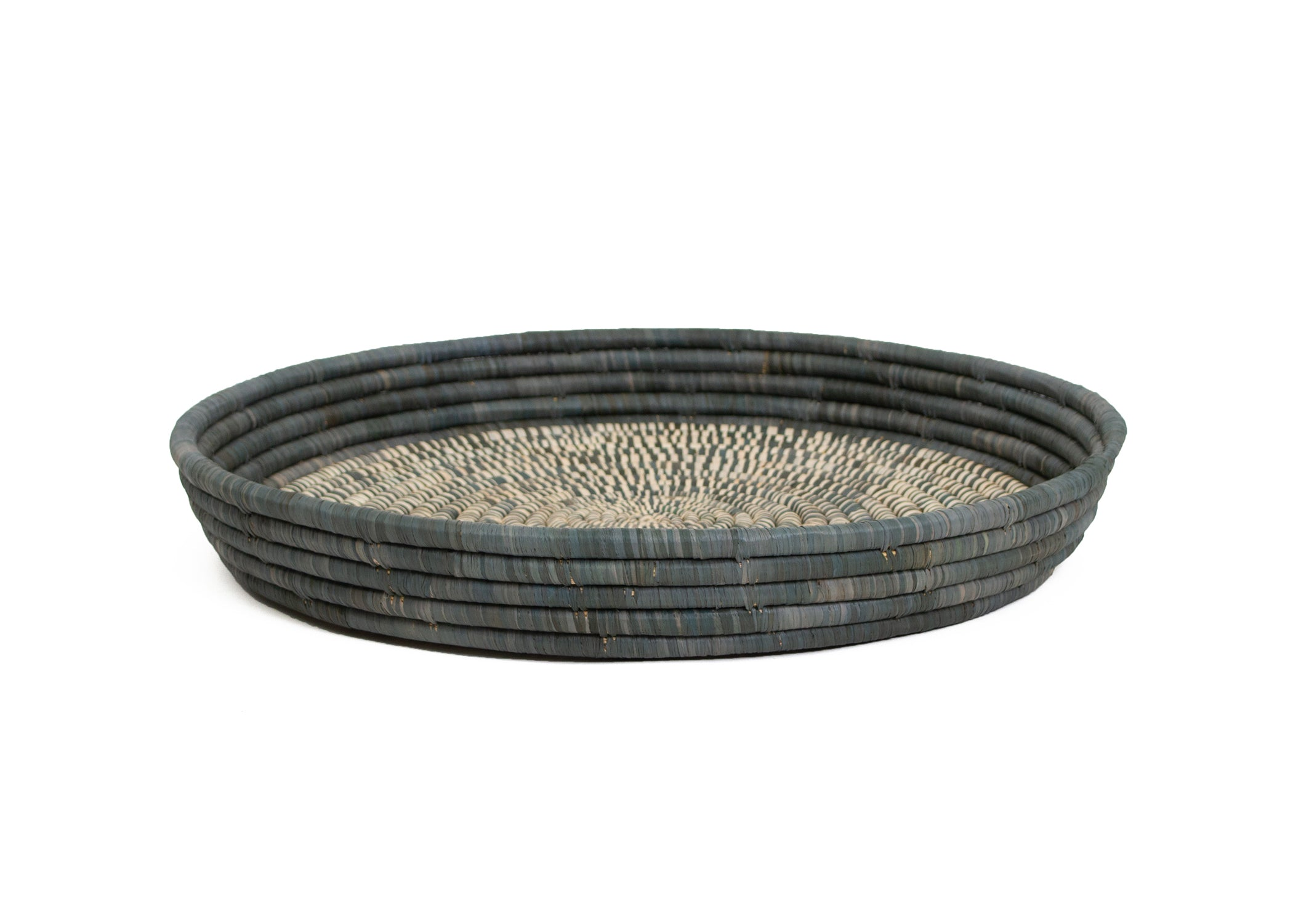 Carbon Heathered Raffia Tray - KAZI - Artisan made high quality home decor and wall art