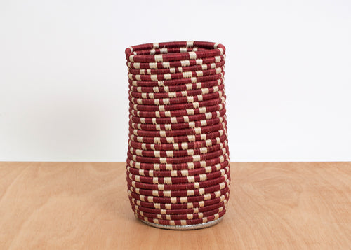 Tall Metallic Silver + Earth Red Vase