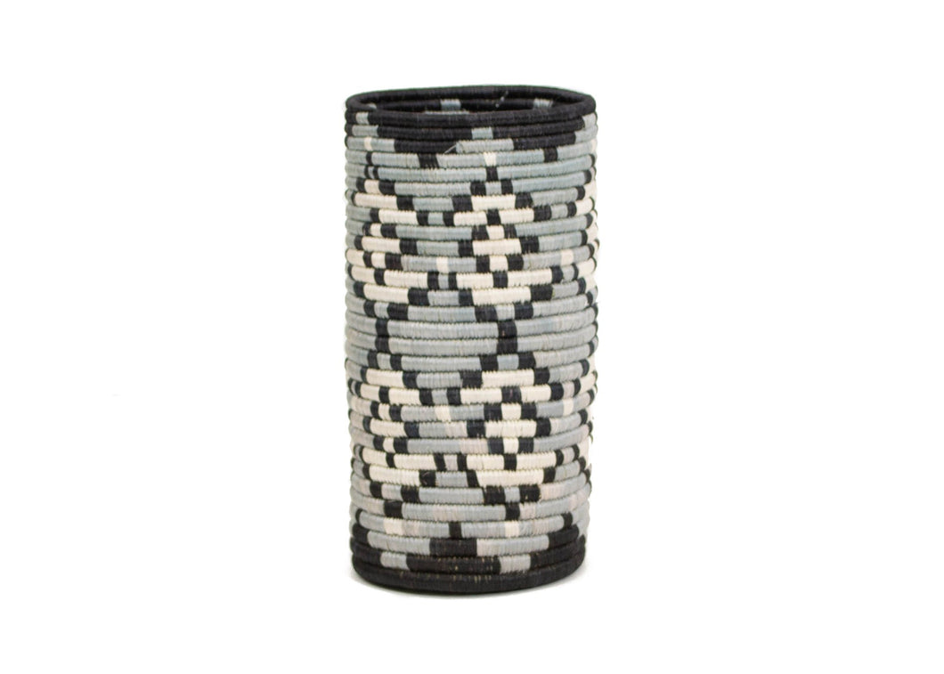 Black + Gray Tofali Vase with Glass Insert - KAZI - Artisan made high quality home decor and wall art