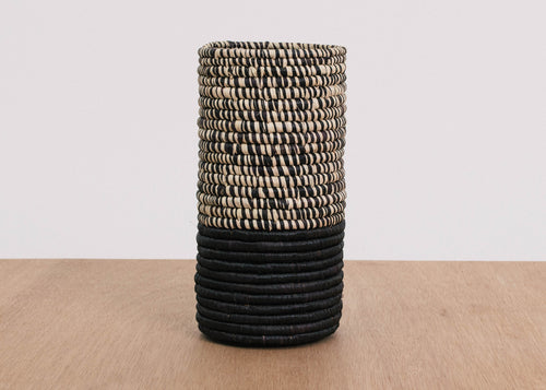 Half Heathered Black Raffia Vase